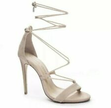 Chinese Laundry Jambi Womens Nude Suede Heels Stiletto Shoes Ankle Wrap Size 8.5