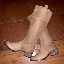 $209 Lucky Brand Women's 7.5 M Brown Leather Hibiscus Pull On Riding Tall Boots