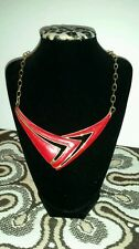 """Vintage 1980's Monet 16"""" Bright Red Enamel Gold Plated Metal Necklace!"""