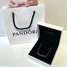 Genuine Pandora Reversible Collier Necklace Sparkly Sterling Silver Gift Boxed