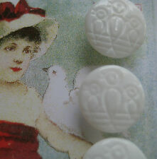 "Set of 4 ~ Vintage 1/2"" White Singing Bird Glass Buttons~ old stock 1920's"