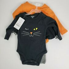 Carter's Girls 3 Piece Halloween Set 3M Bodysuits Striped Pants Black Orange