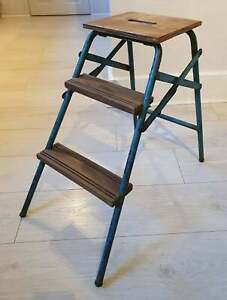 Vintage Steps, Blue metal  + wood