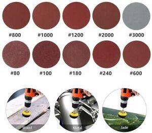 100Pcs 2inch 3inch Hook&Loop Sander Sanding Discs Pads 80 to 3000 Grit Sandpaper