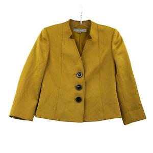 Tahari Arthur S. Levine Womens Mustard Yellow Blazer Shoulder Button Size 6P