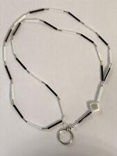 """22.5"""" Black White & Silver Handmade Tube Beaded Lanyard ID Badge Holder Key Ring"""
