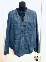 LC LAUREN CONRAD Polka Dot Long Sleeved Henley Chambray Denim Shirt Blouse XL