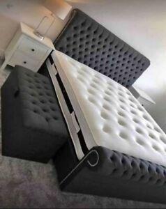 Stylish Sleigh Chesterfield scroll Upholstered Designer made in plush Velvet Bed