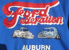 VINTAGE 1953 FORD FEDERATION EMBROIDERED CUSTOM JACKET W ORIGINAL FORD PINS XXL