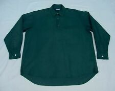 COMME des GARCONS Cotton Flannel Pullover Button-Front Solid Green Men Shirt XL