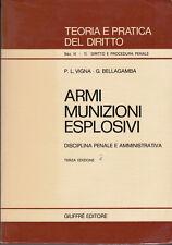 DIRITTO VIGNA BELLAGAMBA ARMI MUNIZIONI ESPLOSIVI DISCIPLINA PENALE 1981