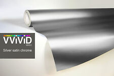 VVIVID8 Silver chrome satin matte car wrap vinyl 100ft x5ft conform stretch 3MIL