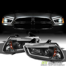 2011-2014 Charger R/T HID Ver. LED Tube Projector Headlights Lamps Set L+R 11-14