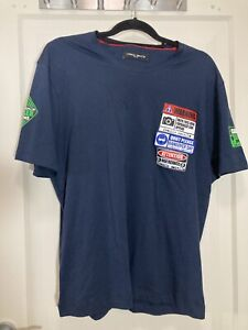 Designer Frankie Morello Milan T Shirt Blue With Patches. Mens XL . NWOT