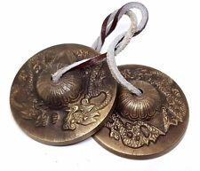 "Tingsha Bells 3"" Inch, 76mm Brass Tibetan, Double Dragon Cymbals Buddhist Om"