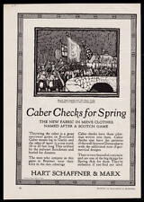 1926 Hart Schaffner & Marx trade print ad - bag pipe band, stone bridge, kilts