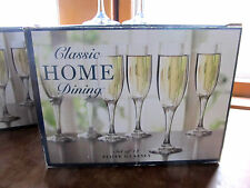 Classic Home Dining set of 12 flute glasses 6 oz Linens N Things Made in USA