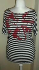 New Breton Strip Look t-shirt top with red flower for next Summer stretch 16-18