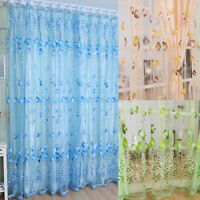 LN_ GN- Tulip Flower Voile Curtain Drape Panel Room Sheer Home Door Window Dec