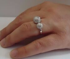 ROUND DISCO BALL OPEN RING W/ LAB DIAMONDS / SZ 6,7,8,9 / 925 STERLING SILVER
