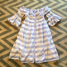 New ANTHROPOLOGIE Nantucket Blue White Stripe Mid Maxi Off Shoulder Dress LARGE