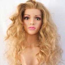 Synthetic Lace Front Custom Made Wavy Dark Strawberry Blonde Wig 22""