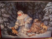 LEANIN TREE  CHRISTMAS CARD SET SANTA & LABRADOR RETRIEVER PUPS 10 PK NEW !