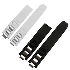 New 20mm Black White Rubber Watch Strap Band for Chronoscaph Autoscaph 21