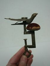 ANTIQUE VICTORIAN BRASS SEWING BIRD WITH CLAMP PIN CUSHION