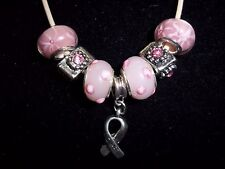 "PINK Handmade Tibetan Silver CANCER AWARENESS ""Hope"" Charm Crystal Necklace N-26"