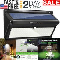 100 LED Solar Luz De Pared Impermeable Con Sensor De Movimiento Lámpara Exterior