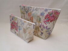 HANDMADE OILCLOTH SET OF 2 MAKE UP TOILETRY WASH BAG - VOYAGE HEDGEROW FABRIC