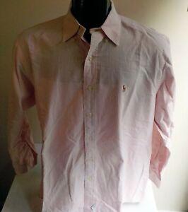 POLO RALPH LAUREN LS Striped Button Down Shirt Pink/White SZ 16 1/2 32
