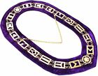 Blue Lodge Working Tools Gold Plated Collar Chain Purple Backing DMR-400GP