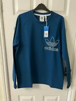 New Adidas Outline Crew Neck Sweater Top, Blue, Medium, RRP £55