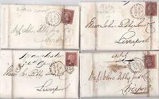 * 1856 x 4 Spedizione Lettere Manchester lateralmente Duplex Reiss Bros a John BIBBY