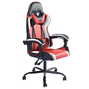 360 Degree Swivel Racing Style Gaming Chair PU Leather with Waist & Neck Cushion