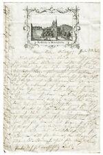 """Schöner historischer Druck - """"Die Kirche in Schulpforta"""" auf Briefkopf 1861"""
