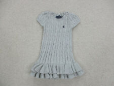 Ralph Lauren Polo Dress Toddler 3T Gray Blue Pony Knit Casual Girls Youth *