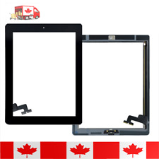 iPad 2 Black Touch Screen Digitizer With Home Button + Adhesive & Tempered Glass