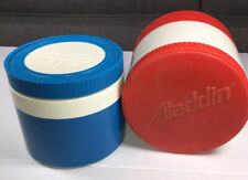 Aladdin  #7000 Red + Thermos #1155/3 Blue Insulated Jars With Screw Lids
