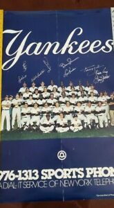1981 NEW YORK YANKEES TEAM SPORTS PHONE POSTER SIGNED 24X36