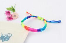 New Colorful Rainbow Silky Macrame Hand-weave Friendship Bracelets Anklets