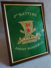 Plate in Felt Woven Wire Gold 4ème Battery Navy Army Aspirant