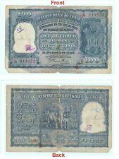 100 rupee Indian Banknote 1953 Old 100 INR Elephant note Bombay Mint G5-30 US