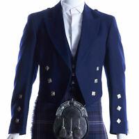 Scottish Navy Blue Prince Charlie Jacket with Vest 100% Wool Custom Kilt Jacket