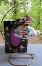 Christopher Radko Christmas Ornament Chillin Lazy Snowman &Candy Cane Mint w Box