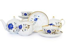 Russian Porcelain Tea set Dulevo Blue Flowers 6 pers 15 pc Kuznetsov Porcelain