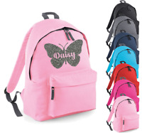 Personalised Name Rucksack Backpack Butterfly Back to School Bag Custom Girls Ba