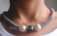 atemberaubende 14mm weiße schwarze Muschelperlen-Tibet-Halskette 18 Zoll